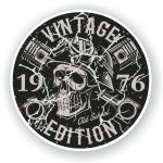 Distressed Aged Vintage Edition Year Dated 1976 Biker Skull Roundel Vinyl Car Sticker Decal 87x87mm